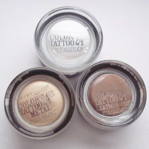 3 Maybelline Color Tattoo 24 Hour Eyeshadow Pots